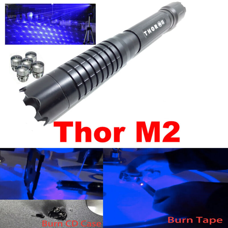 Thor M 2 450nm Blue Light Laser Pointer Pen Adjustable Beam Star Caps