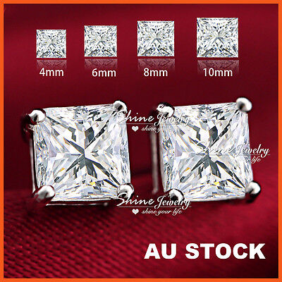 9K WHITE GOLD GF SILVER LAB DIAMOND MENS LADY KIDS CRYSTAL SQUARE STUD EARRINGS ()
