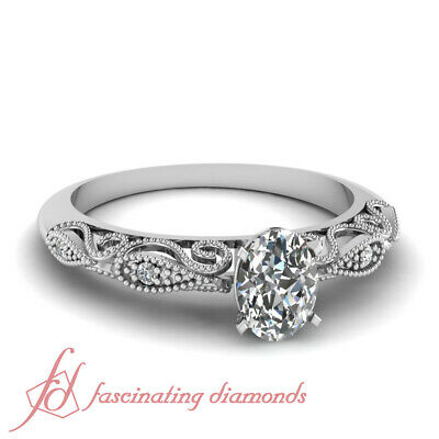 Pave Set Filigree Fretwork Engagement Ring 3/4 Ct Oval Shaped Diamond SI2 GIA