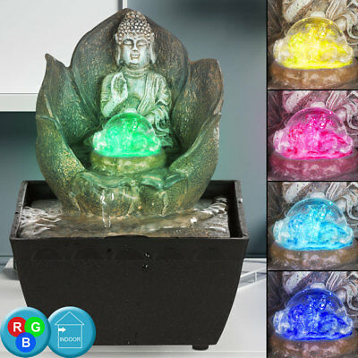 LED Design Tisch Spring Brunnen RGB Farbwechsler Kugel Wasser Spiel Buddah Deko (Springbrunnen Buddha Wasser)