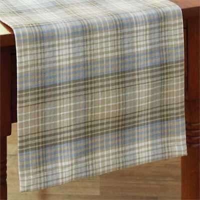 Country Prairie Wood Table Runner 13x36 Taupe Blue Cream Plaid Farmhouse