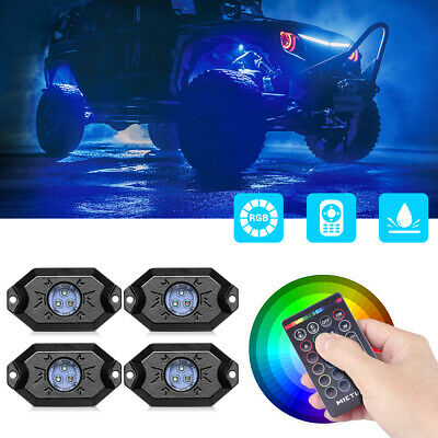 MICTUNING RGB Rock Lights Remote Control Underglow Offroad Neon Multicolo-4 Pods