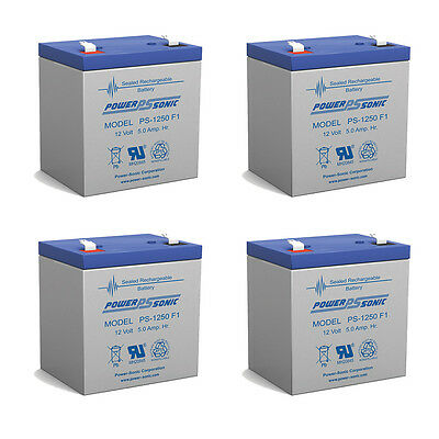 POWER SONIC 4 Pack - 12v 5ah Ups Battery Replaces 5.5ah B...