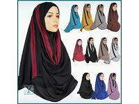 One Piece Hijab Chiffon pull on ready Amira Jilbab Abaya Scarf Headscarf islamic