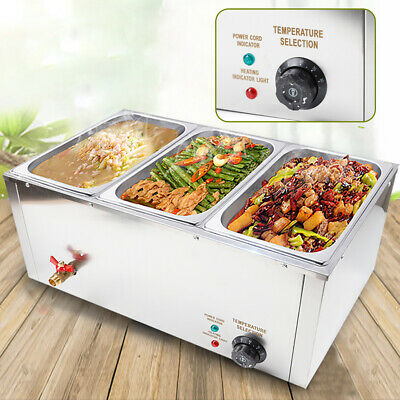 3-pan Buffet Food Warmer Steam Table Commercial Kitchen Equipment 37l 850w 110v