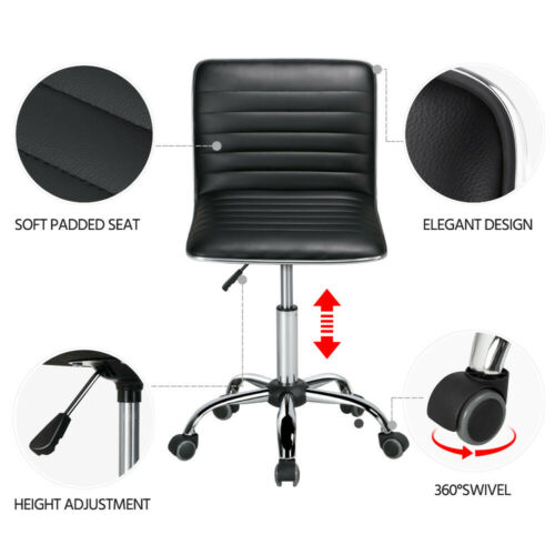 Low Back Armless Task Chair with Wheels Black