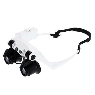 10/15/20/25X Magnifier Magnifying Eye Glasses Loupe Watch Repair LED Light W3Y2