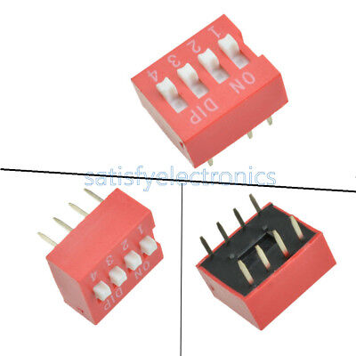 10pcs Slide Type Switch Module 2.54mm 4-bit 4 Position Way Dip Red Pitch New Z