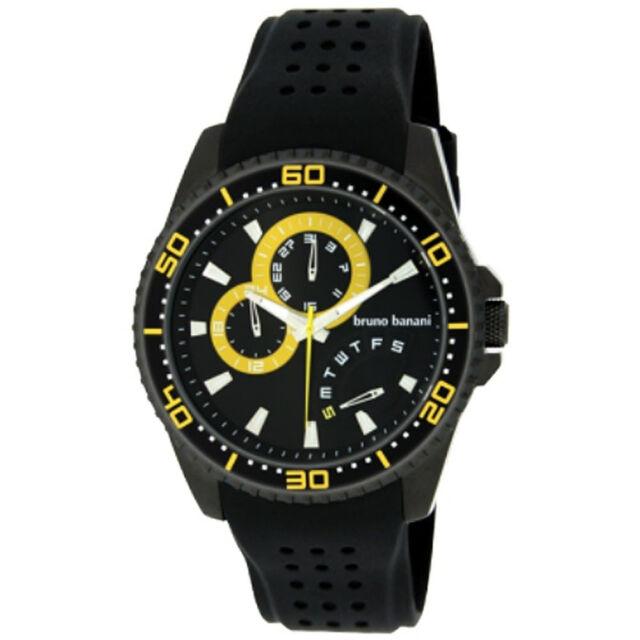 Bruno Banani Herrenuhr BR22008 Shiva schwarz/gelb Kunststoffband SV3 049 401