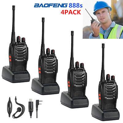 4Pack Walkie Talkie Headset Two Way Radio 2 Long Range Security Patrol Police HM
