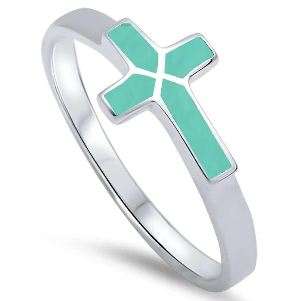 Turquoise Sideways Cross .925 Sterling Silver Ring Sizes 5-1