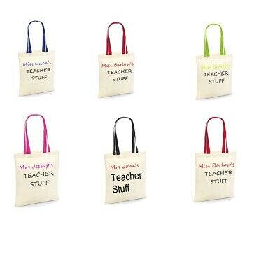 Personalised Teachers Stuff Canvas Bag for life-contrast handles and Print W101C - Teachers Stuff