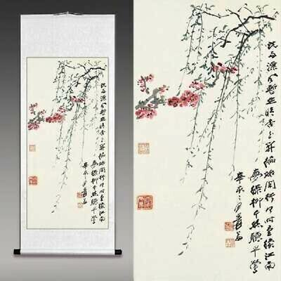 Chinese art willow painting hanging scroll from Japan