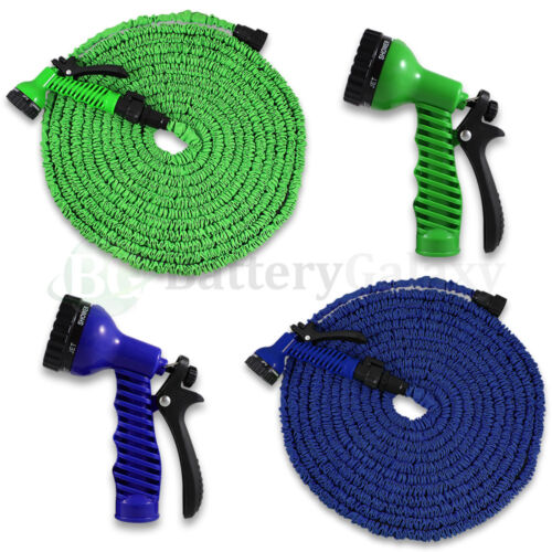 Deluxe 25 50 75 100 Feet Expandable Flexible Garden Water Hose w/ Spray Nozzle