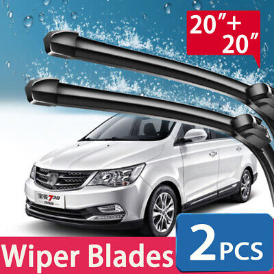 NEW 20'' + 20'' WINDSHIELD WIPER BLADES Car Front BRACKETLESS Premium ALL SEASON