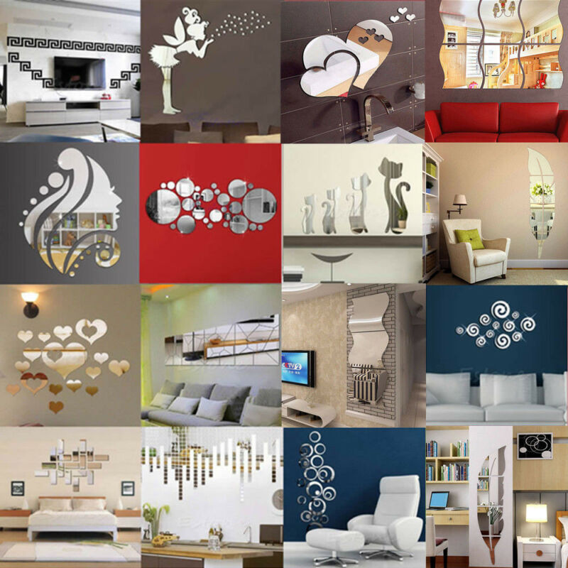 Removable 3D Acrylic Modern Mirror Decal Art Mural Wall Stic