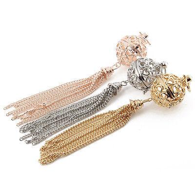 Diy Tassel Necklace (1pcs Heart Locket Pendant Long Tassel Chain Aromatic Oil Diffuser DIY)
