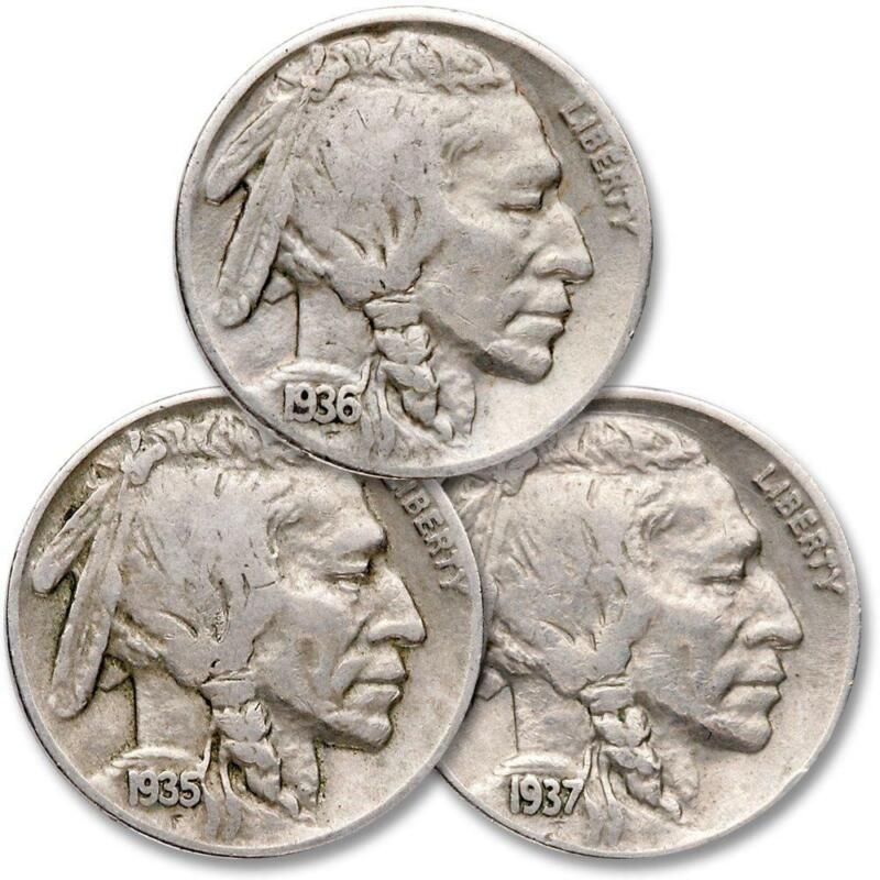 1935-1937 5c Indian Head Buffalo Nickel 3 Coin All Mint Set Lot F Fine