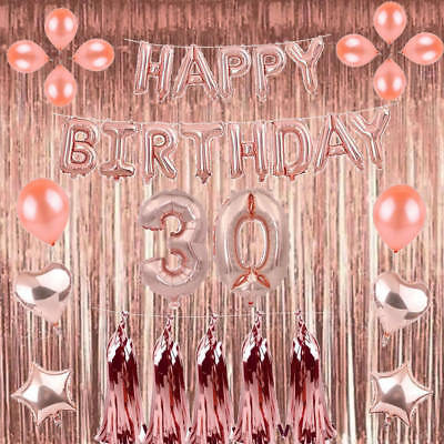 Rose Gold 18/21st/30/40/50 Happy Birthday Balloons Number Confetti Party Curtain (21st Birthday Balloons)
