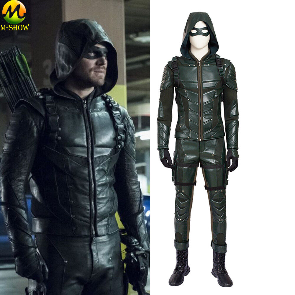 Arrow 8 Oliver Queen Masquerade Cosplay Boots Hoodie Jacket Pants Costume Made
