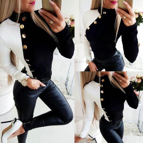 Damen Knopf Langarm Sweatshirt Pullover Bluse Longshirt Oberteile Freizeit Tops