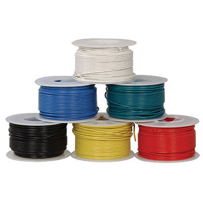 Jameco Valuepro HUWBUN100FT6 22AWG 6 Color Solid Tinned-Copper HookUp Wire 100'