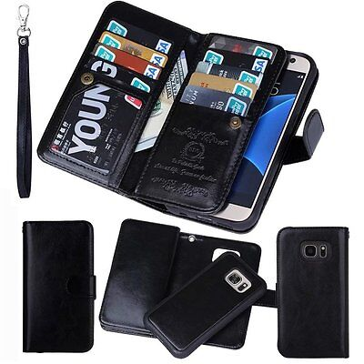 Samsung Galaxy S7 Edge Leather Phone Case Wallet Card Holder Flip Stand Cover