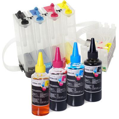 Empty CISS w Edible Ink Bottle Set for Epson Stylus C68 C88 C88+ CX3800 CX3810 for sale  Los Angeles