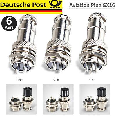 6paar 2/3/4Pin GX16 16mm Luftfahrt Stecker Buchse Steckverbinder Anschlusstecker 2 Pin Stecker