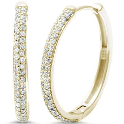 Yellow Gold Plated Micro Pave Cubic Zirconia Hoop .925 Sterling Silver (Sterling Silver Pave Cubic Zirconia Hoop Earrings)