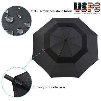 62 Inch Automatic Open Golf Umbrella Extra Large Oversize Double Canopy Vented