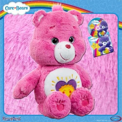 Care Bears Medium Plush Soft Cuddly Toy Pink Shine Bright Bear With Bonus Dvd