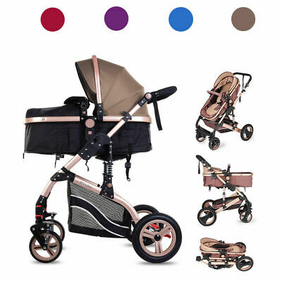 Folding Newborn Baby Pram Stroller High View Travel Carriage Pushchair