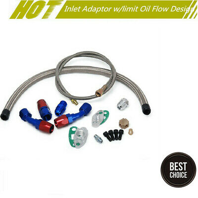 Turbo Oil Feed Line Oil Return Drain Line Kit 1/8 NPT Adaptor AN4 Fitting Set *