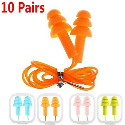 10pairs Silicone Corded Ear Plugs Reusable Hearing Protection Earplugs Anti-nois