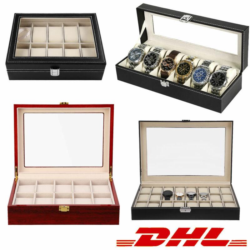 Uhrenbox Uhrenkoffer Für 6/10/12/24 Uhren Uhrenschatulle Uhrentruhe Uhrenkasten
