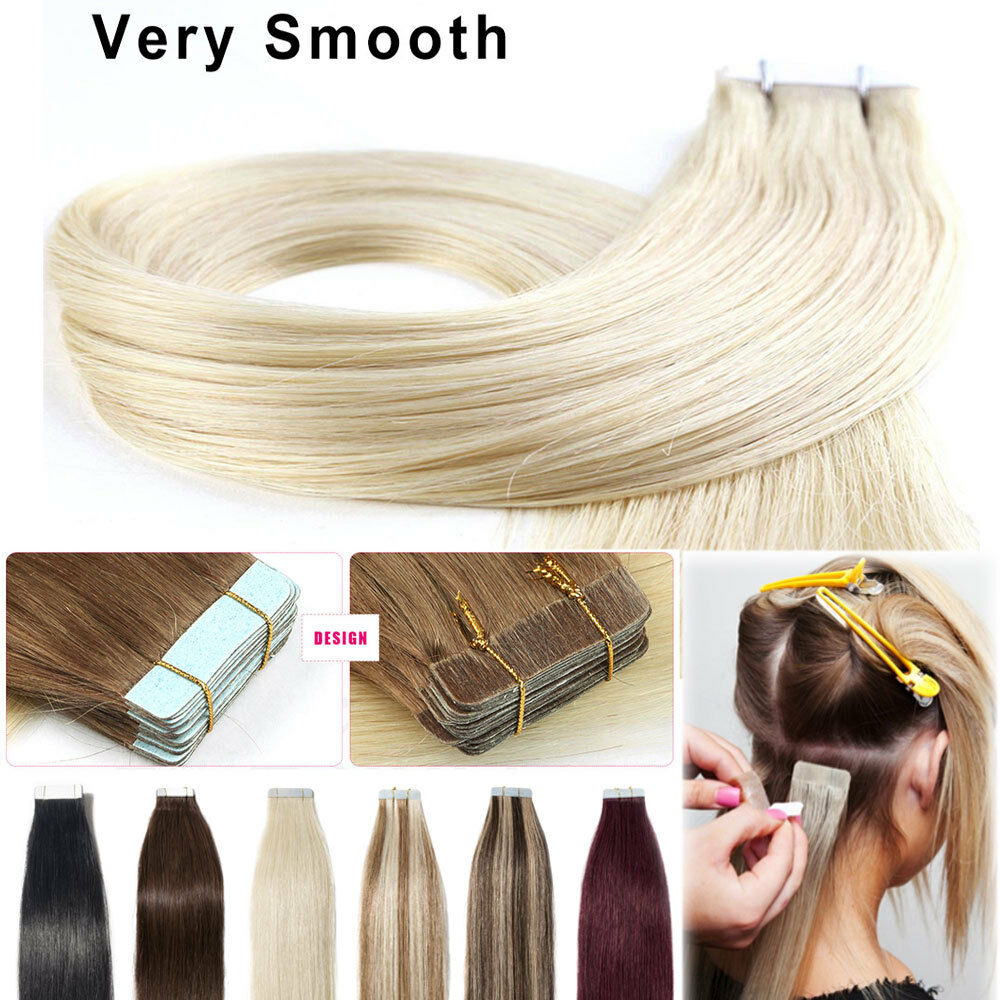 100g Tape In 100 Remy Human Hair Extensions Brazilian Real Thick