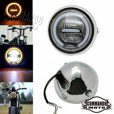 6.5 inch Motorcycle Round LED Halo Headlight Universal For Cafe Racer Headlamp