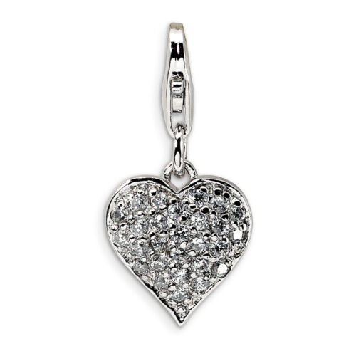 Amore La Vita Sterling Silver 3-D Red Enameled Heart Click-On Lobster Clasp Charm Pendant