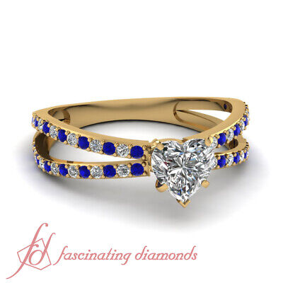 Unique Yellow Gold Diamond And Sapphire Ring For Women 0.65 Ct Heart Shaped GIA