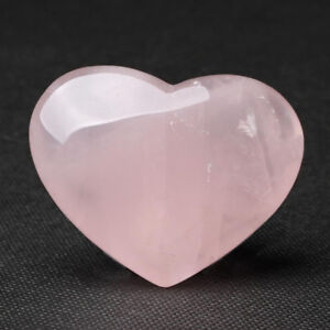 Cheap!1pcs Natural Rose Quartz Crystal Carved Love Puffy Heart Shaped Stone