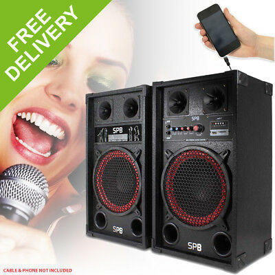"SPB 10"" Active Powered Red Cone PA Speakers Disco Party DJ Sound System 600W"
