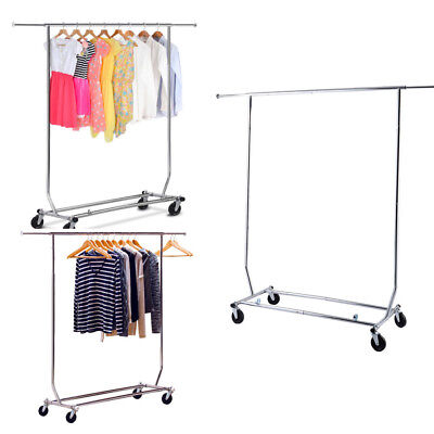 Portable Heavy Duty Clothing Garment Rolling Collapsible Rack Adjustable Hanger