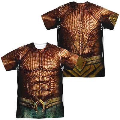 Authentic DC Comics Aquaman Movie Uniform Costume Sublimation Front Back T-shirt