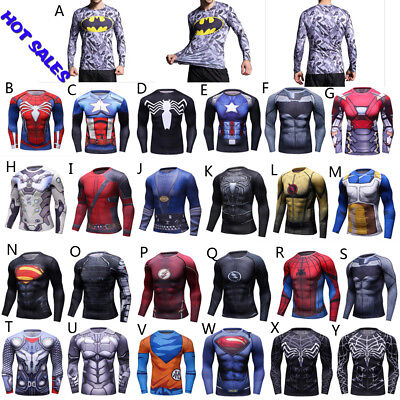 Men Compression Rash Guard Long Sleeve Skins Shirts MMA BJJ Wear Quick Dry -