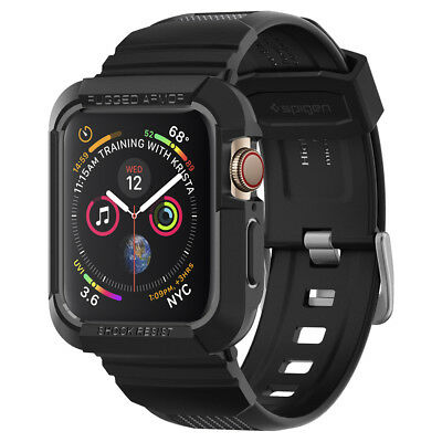 Apple Watch Series 4 44mm Spigen® [Rugged Armor Pro] Black Shockproof Case Cover