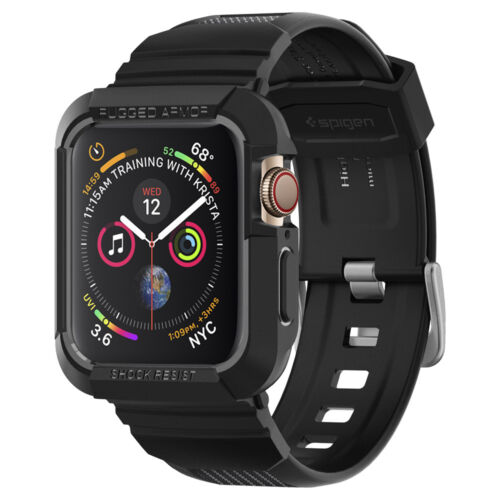 Apple Watch Series 5/4 44mm Spigen® [Rugged Armor Pro] Black Shockproof Case
