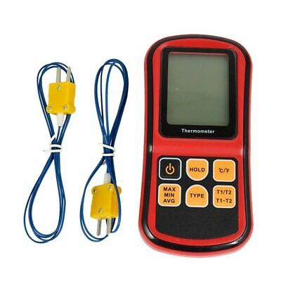 Gm1312 Digital Dual Channel Thermometer With 2 K-type Thermocouple Sensor Tester