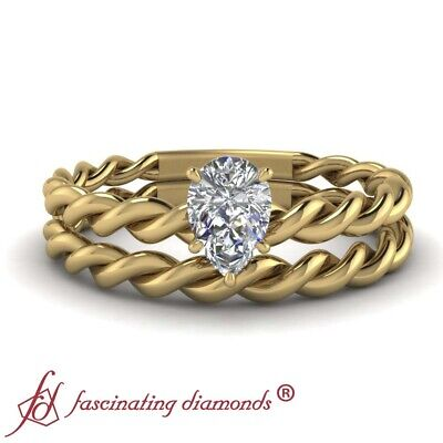 Yellow Gold Pear Shaped Diamond Solitaire Twist Wedding Rings Set 1/2 Carat GIA