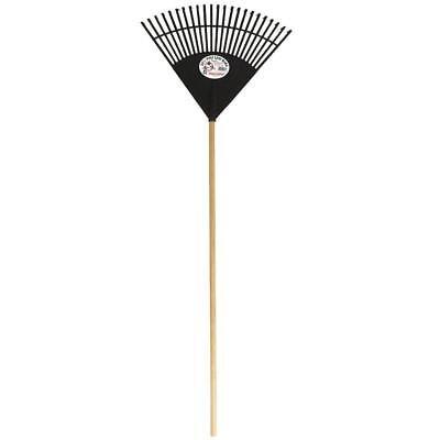 "Leaf Rake 22.5"" Black Poly Plastic Lightweight Fan Shaped Wood Handle Lawn Tool"